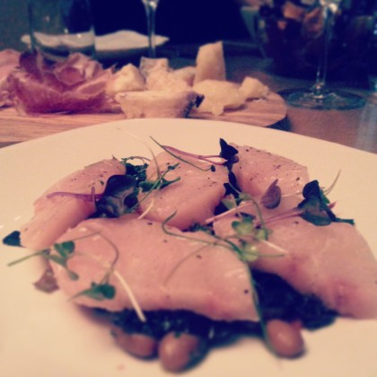 Yellowtail, borlotti beans and rainbow chard